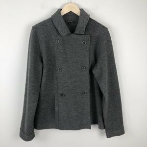Eileen Fisher Wool Knit Double Breasted Jacket L
